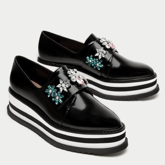 New Zara Trafaluc Bejeweled Platform black Shoes